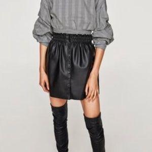 Zara Faux Leather Black Skirt